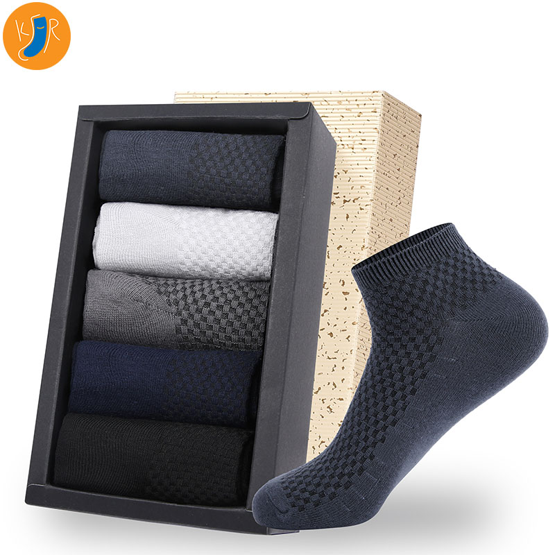 5 Pairs/Lot Bamboo Fiber Men Socks Casual Business Anti-Bacterial Deodorant Breatheable Man Short Long Sock EUR39-45 With Bag