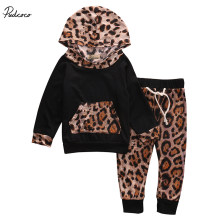 2 Pcs Leopard Baby Girl Warm Hooded Clothing Set Infant Babies Girl Hoodie Cute Tops+Pants 2pcs Outfits Clothes Set(China)