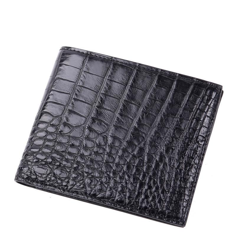 Echtem krokodil leder männer zipper luxus brieftasche hohe qualität leder mode mini dünne geld tasche männer schwarze kurze brieftasche - 2