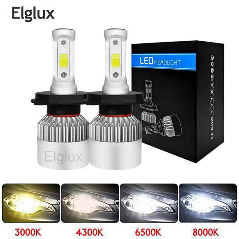 Elglux 2Pcs Super bright H4 LED  COB Chip Auto Car Headlight 72W 8000LM High Low Beam All In One Automobiles Lamp 6500K 12V