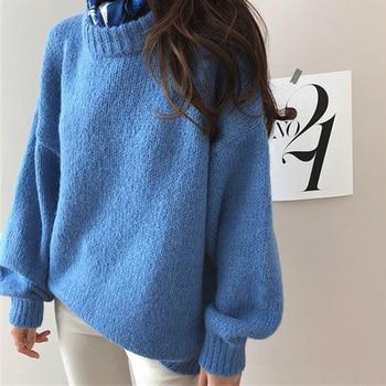 Ailegogo 2020 Autumn Winter Women Knitwear Lantern Sleeve Pullover Warm Minimalist Knitted Elegant Female Jumpers SW8870 1