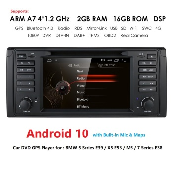 2din car radio dvd gps android 10 1024*600 Quad core For BMW E39 E53 M5(1996-2007) with Bluetooth Phonelink BT 1080P DAB+ Maps image