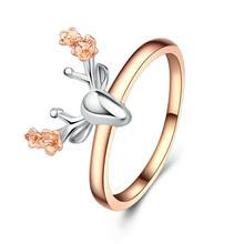 Jingyang Simple Animal Style Round Finger Personality Elk Rings For Girls Jewelry Fashion Christmas Birthday Love Gifts Ring