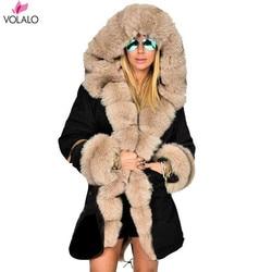 Женская зимняя куртка размера плюс, пальто с капюшоном, хлопковое пальто, Женское пальто с искусственным мехом, теплая парка, Женская Толста...