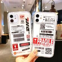 Ins quente dhl express etiqueta à prova de choque transparente silicone caso para o iphone 11 12 pro max x xs xr 6 7 8 plus macio telefone volta capa