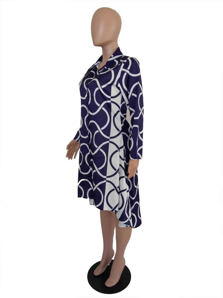 Plus платье большого размера 2019 с длинными рукавами и воротником-стойкой, черно-белое платье в полоску, женское осеннее платье, Повседневное платье-рубашка, Vestidos