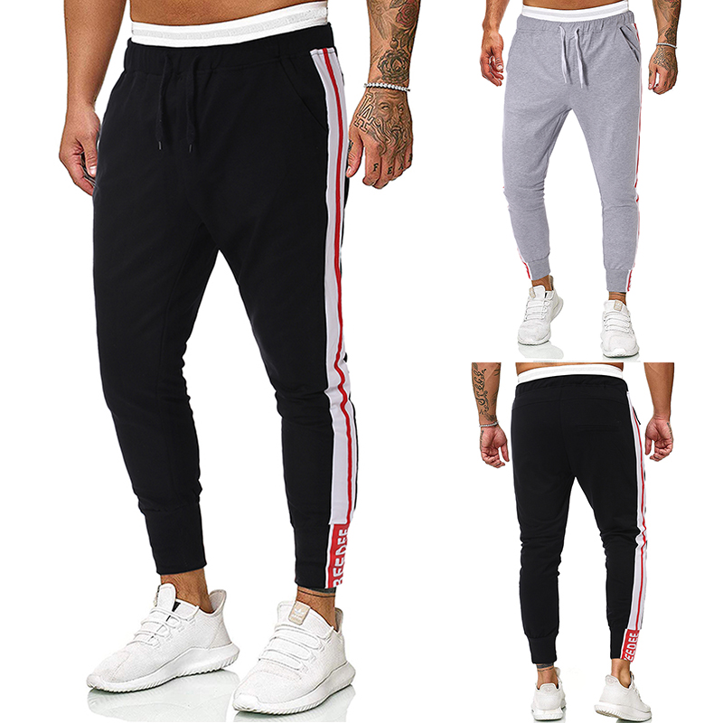 New Mens Joggers Casual Pants Fitness Men Sportswear Tracksuit Bottoms Skinny Sweatpants Colorblock Tie Belt Casual Pants