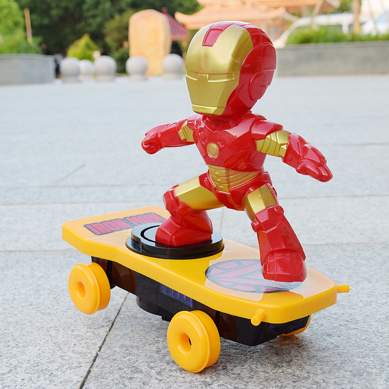 Iron Man Electronic Car Superhero Spider Man Hulk Scooter The Avengers Captain America Racing Music Toys For Children Gifts