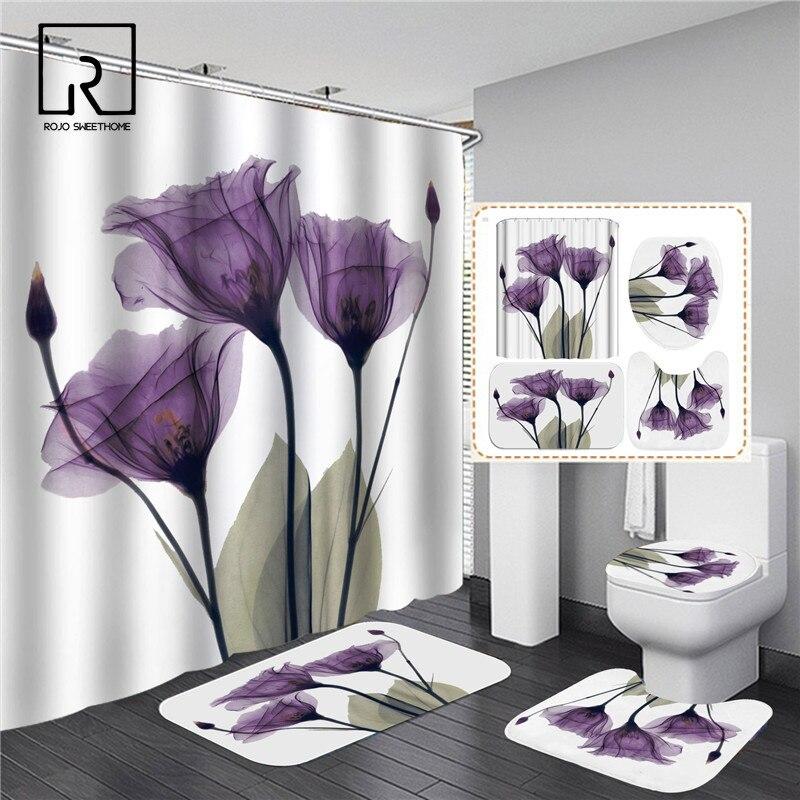 Purple Tulip Floral Printed Shower Curtain Set Elegant Waterproof Bathroom Partition Flannel Anti -slip Carpet Rugs Home Decor