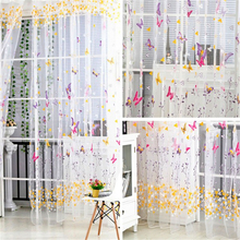 1x2/2.7M Butterfly Tulle Curtains Windows Voile Sheer Curtains for Kitchen Living Room Bedroom Window Screening Drapes Cortinas tulle modern window curtains for living room solid sheer curtains for bedroom voile drapes curtains window screening treatments