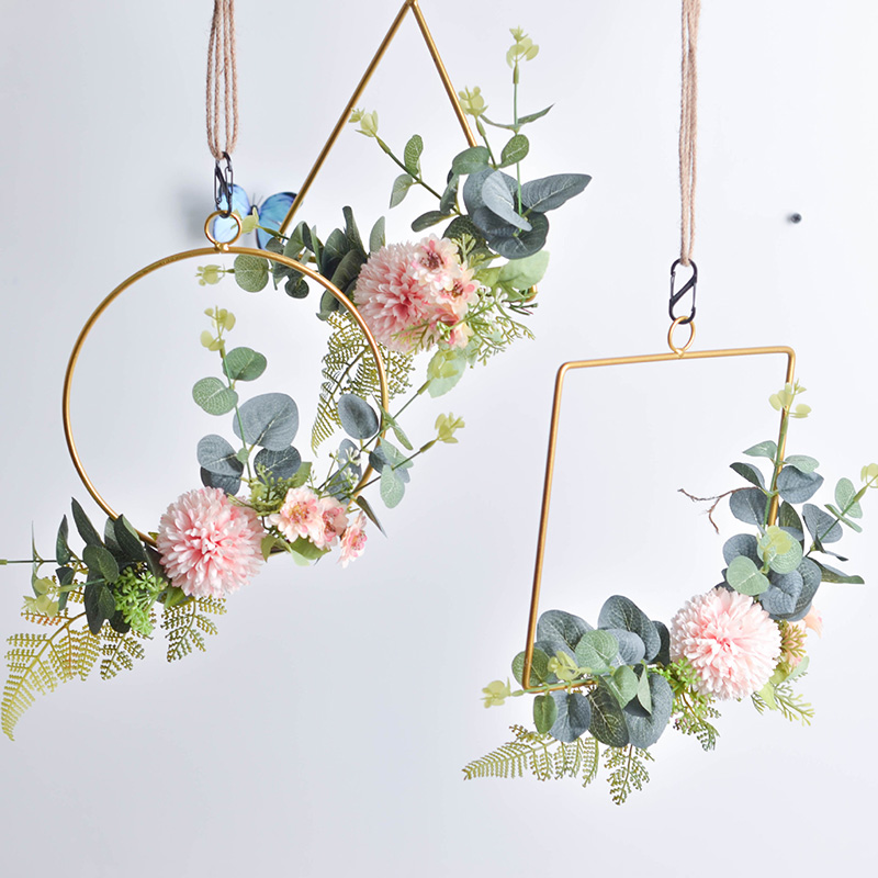 Iron Gold Metal Ring Portable Garland Artificial Flower Rack Wall Hanging Wreath Wedding Bride Handmade Flowers DIY Home Decor