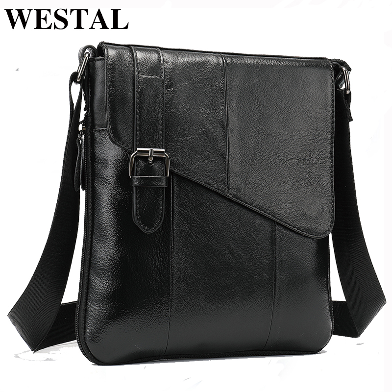 WESTAL Genuine Leather Men's Shoulder Bags Zipper Flap Crossbody Bags For Men Messenger Handbag Male Leather Cover Designer Bag