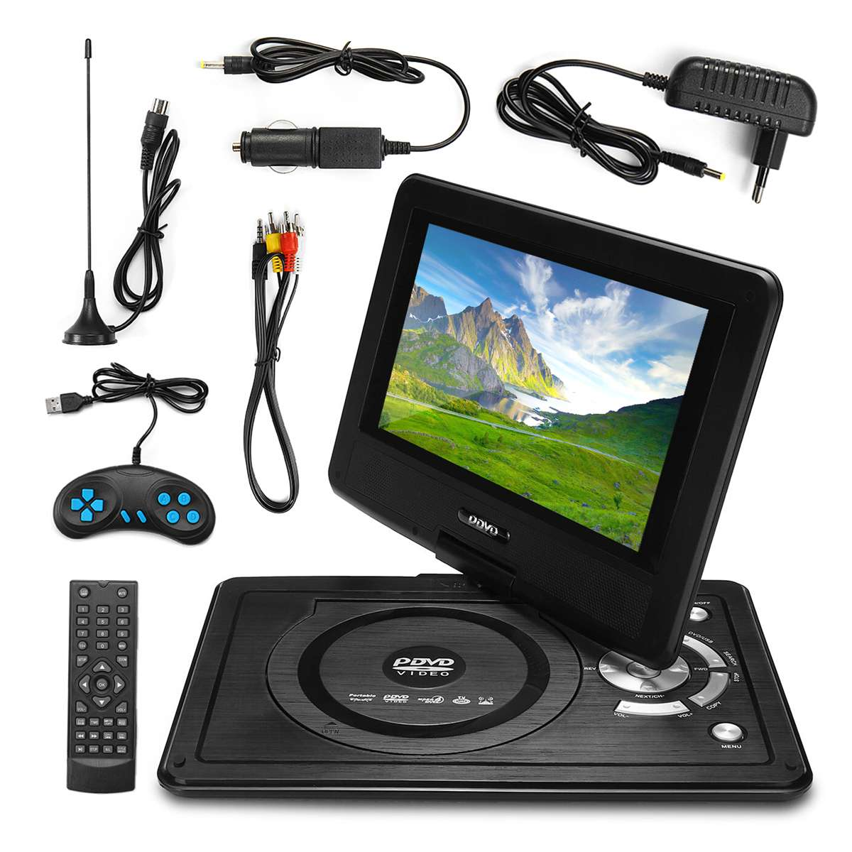 """12.4"""" DVD Player Portable Car DVD Player VCD CD MP3 Portable Game Remote Control Swivel Screen USB SD With DVD/CD ROM RW Case