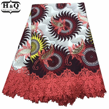 Stylish Ankara Cotton Wax 6 Yards/Piece Beautiful Nigerian Guipure Wax Lace Embroidered Lace High Quality For Ladies Garment