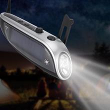 נייד FM רדיו חיצוני שמש יד Crank USB טעינה רב תכליתי חירום LED פנס לקמפינג