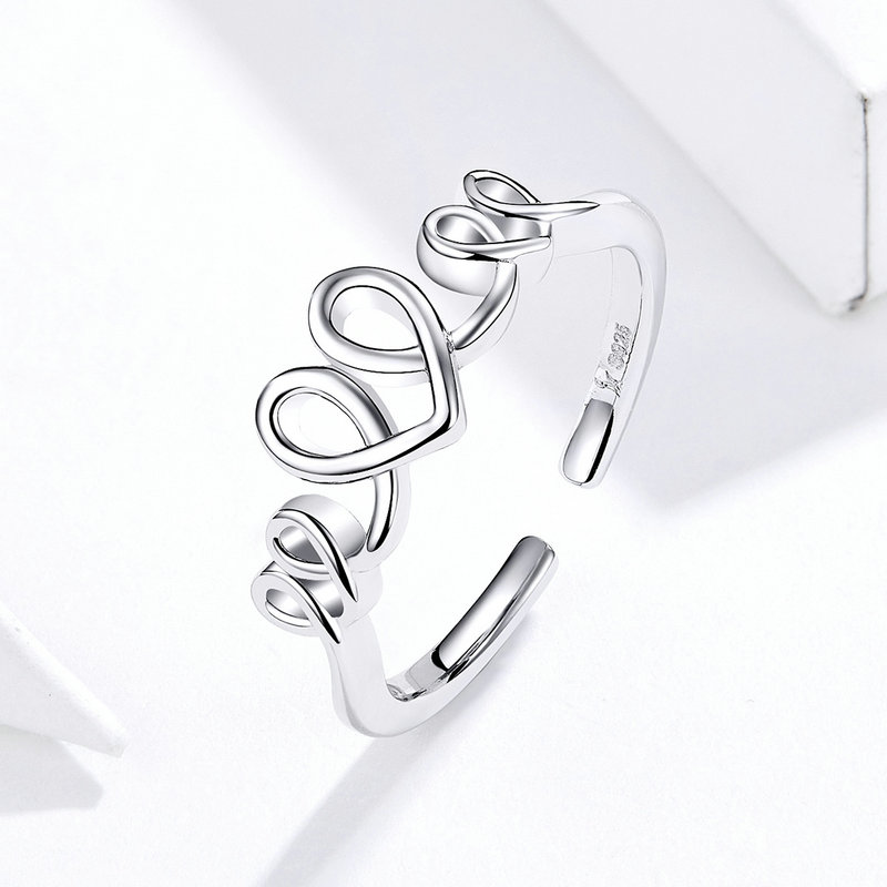 Bamoer 925 Sterling Silver Open Rings Adjustable Love Cardiogram Heart Shape Geometric Ring Silver Jewelry Gift For Women GXR588