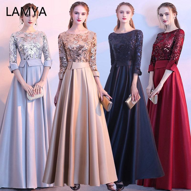 LAMYA Three Quarter GoldSequin Evening Party Dress Long A Line Prom Dresses Evening Gown Formal Dress Elegant Vestido De Festa