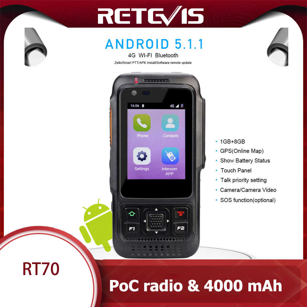 Retevis RT70 Jaringan Walkie Talkie 4G Android 5.1.1 Smart Ponsel Sim Card GPS 4000 MAh LTE/WCDMA/GSM Radio Push-To-Talk POC Radio