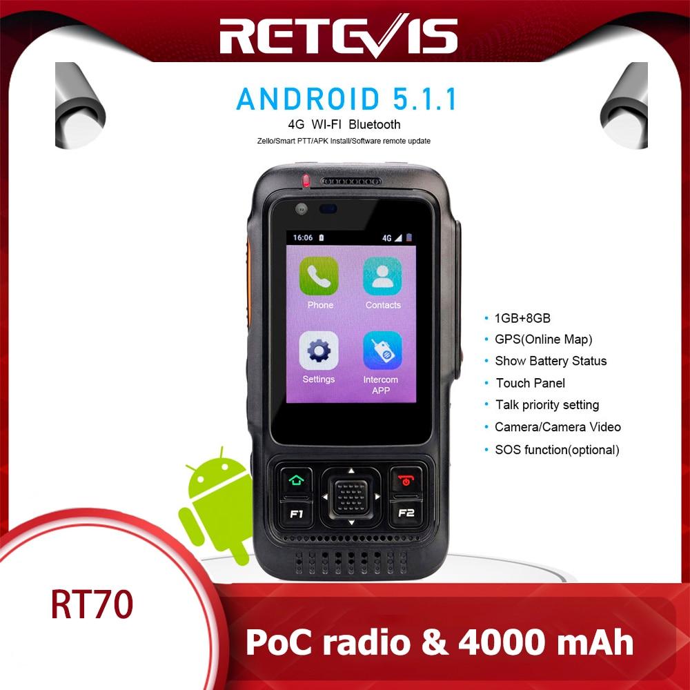 Retevis RT70 Network Walkie Talkie 4G Android 5.1.1 Smart Phone SIM Card GPS 4000mAh LTE/WCDMA/GSM Radio Push-to-Talk POC Radio