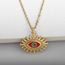 Gold Red Turkish Evil Eye Pendant Necklace Metal Copper Sun Necklaces For Women Men Christmas Gift Wholesale Dropshipping(China)