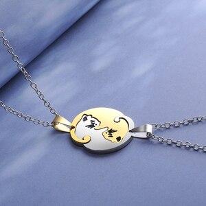 Ожерелье в виде сердца для пары с милым мультяшным котом, ожерелье с простой индивидуальностью, ожерелье черного цвета с животными, ювелирное изделие, подарок для девочек и мальчиков