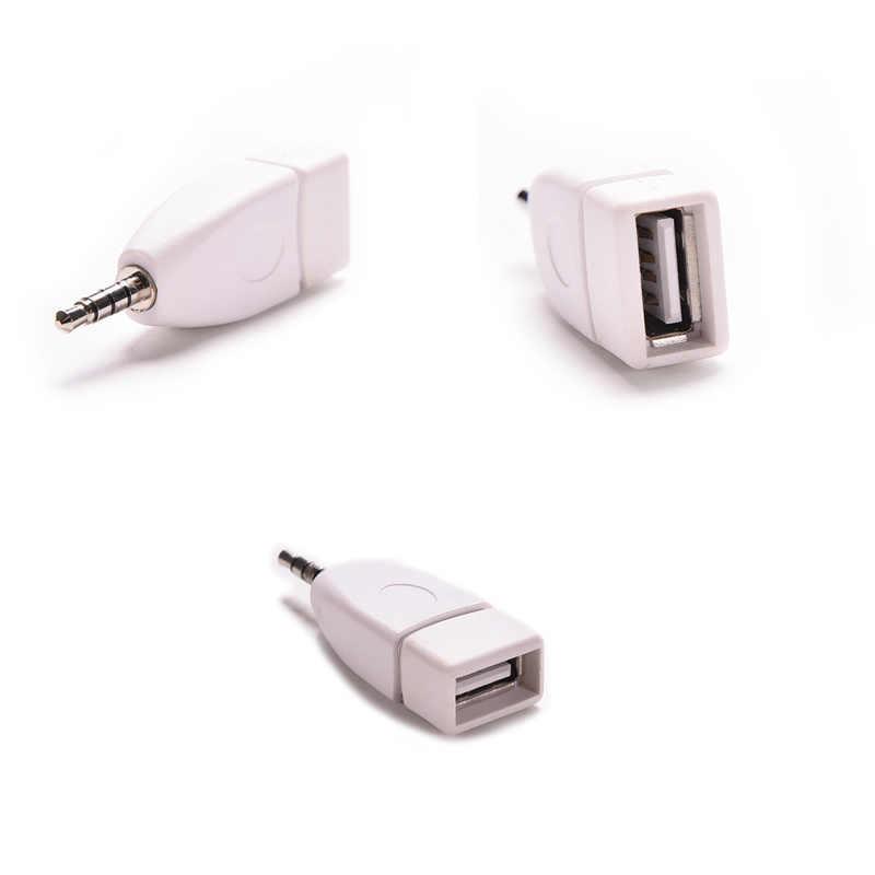 Female Ke 3.5 Mm MALE AUX Audio Plug Jack Converter Adaptor Plug USB 2.0 untuk Mobil MP3 Pemain Ponsel