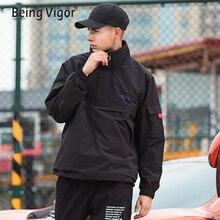 Mens Anorak แจ็คเก็ตผู้ชาย Hip Hop Outwear ฤดูใบไม้ร่วงเสื้อกันหนาว Patchwork Casual Streetwear ชายกลางแจ้งเสื้อกันหนาว TOP 4XL