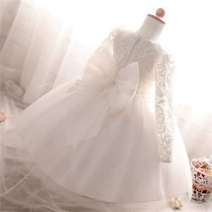 Winter Dress For Girl Long Sleeve White Baptism Dresses Kids Ball Gown for Wedding Party Communion Clothes Princess Costume Kids(China)