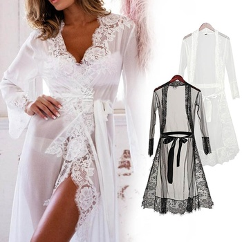 Lace Robe Sleepwear Dressing Gowns For Women Femme Maxi Sexy Nightgowns Long Bathrobe Gown