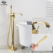 Uythner Floor Mounted Bathtub Faucet Set Gold Bath Tub Faucet Hot and Cold Water Shower Bathtub Mixer Tap Waterfall Floor Stand