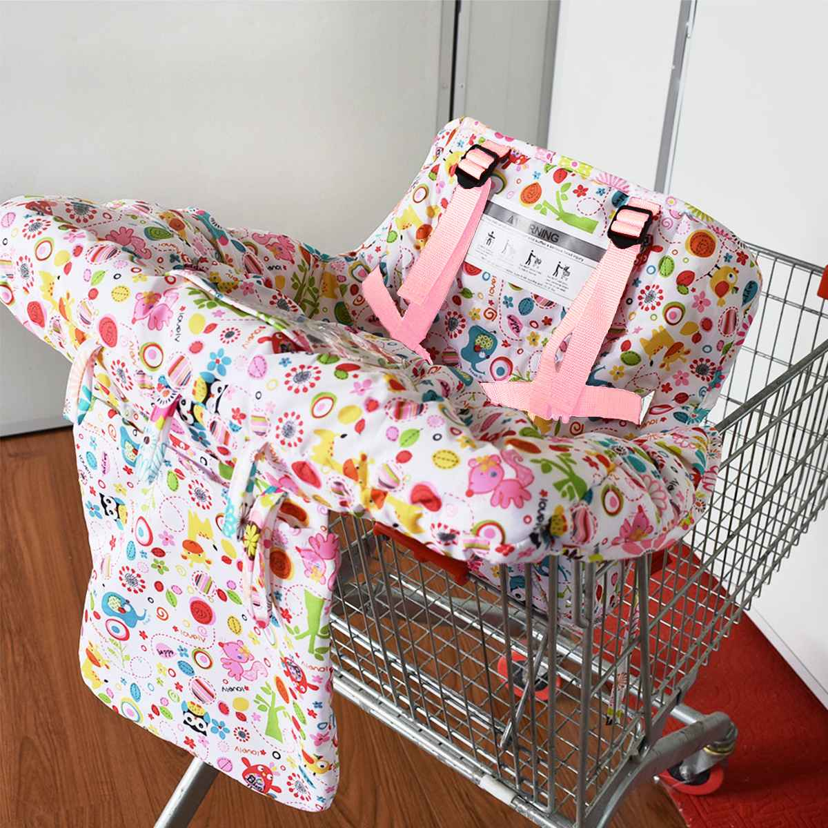 Kids Shopping Cart Cover Portable Folding Printed Trolley Soft Pad Infant Cover Safety Seats For Kids With Phone Bag