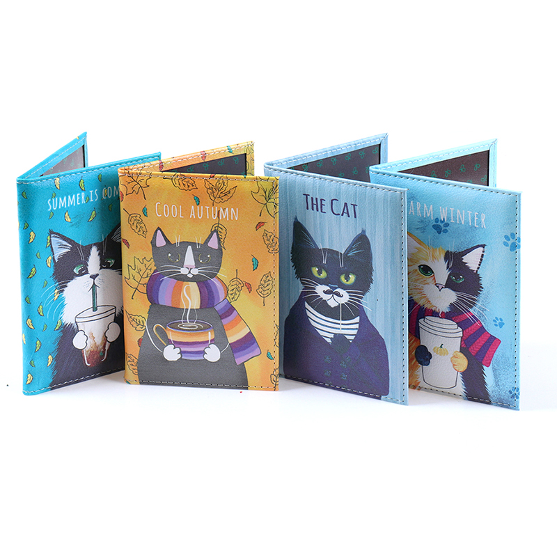 Cat Passport Cover Travel Wallet Pu Leather Case Document Organizer Protector