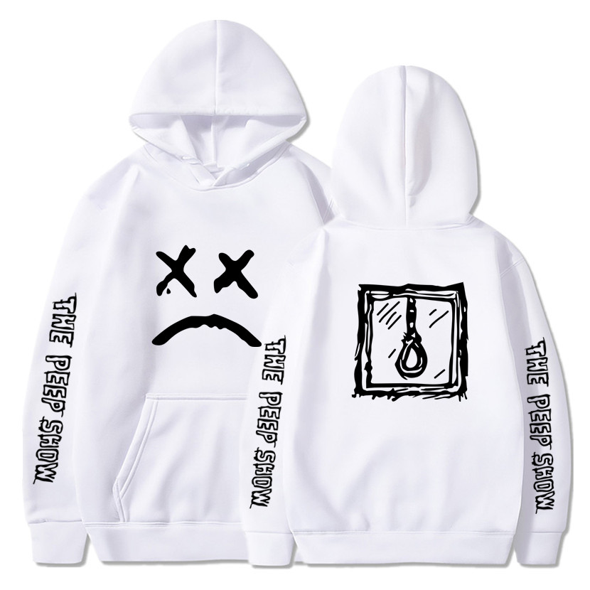 Lil Peep Hoodie Sweatshirt Manga Larga Bolsillo Pullover Basica Abrigos Unisex Blanco Hombre Sudadera con Capucha