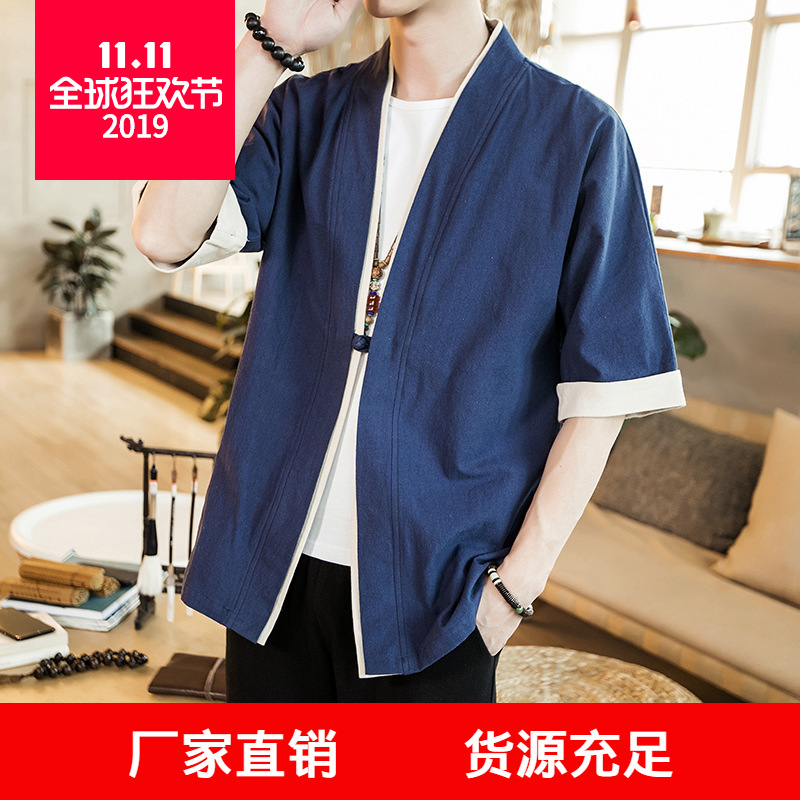 2019 Summer Wear Chinese-style Men'S Wear Cotton Linen Casual Half-sleeve Shirt Shirt Large Size Frog Men Flax Robes