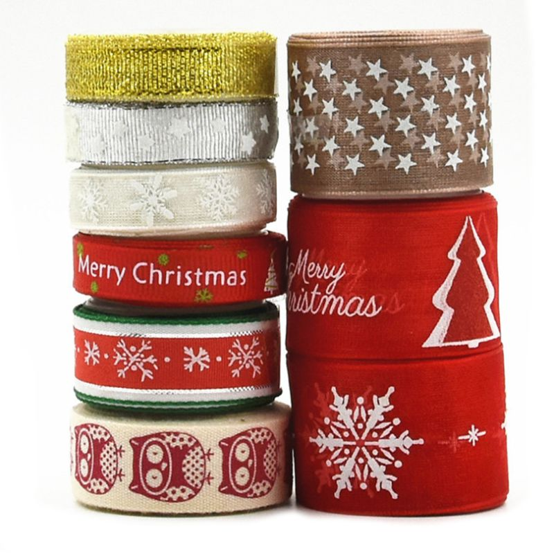 2020 New 9Pcs 2 Yards Christmas Grosgrain Polyester Ribbon For DIY Crafts Gift Wrapping
