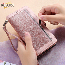 KISSCASE حافظة محفظة جلدية لامعة للنساء ، حافظة مع رفرف مع 11 فتحة بطاقة لهاتف iPhone 6 6S 7 8 Plus X XR XS Max