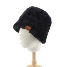 Chapeau seau noir en fausse fourrure pour femmes et filles, chapeau seau noir, épais et doux et chaud, chapeau seau de pêcheur, vacances en plein air, Panama