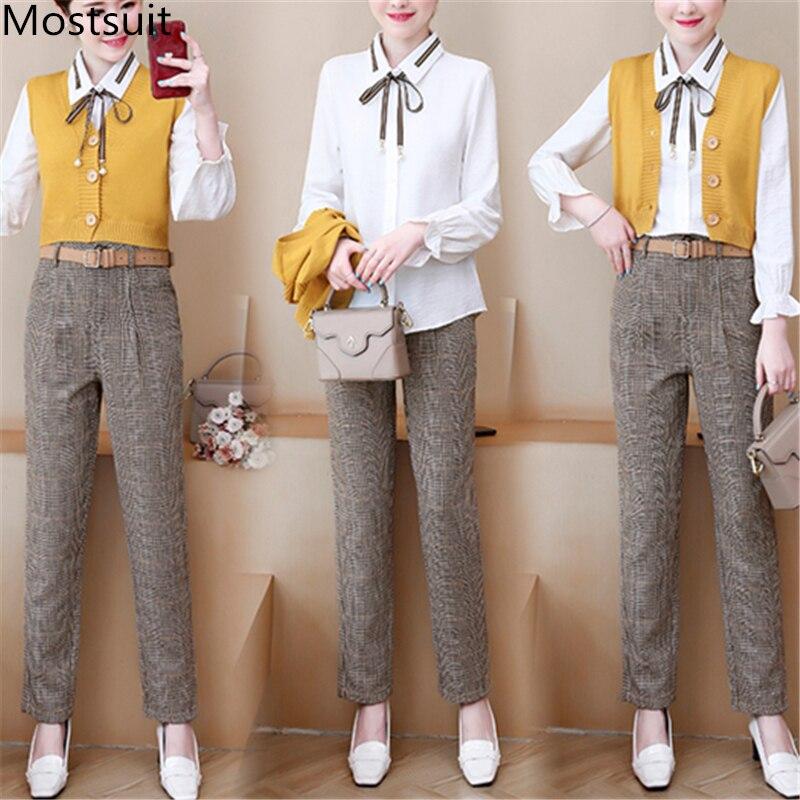 Office 3 Piece Sets Outfits Women Plus Size Shirt+vest+pants Suits 2019 Autumn Vintage Elegant Fashion Korean Three Pieces Sets 45
