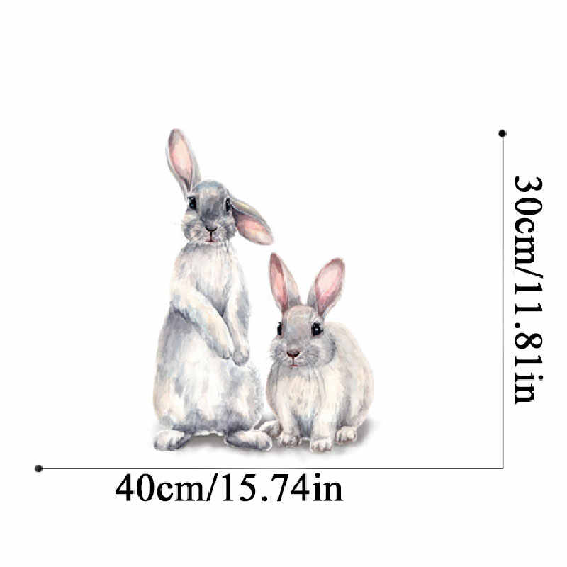 Two Cute Rabbits Wall Sticker Children Kids Room Wallpaper Removable Bunny Decal