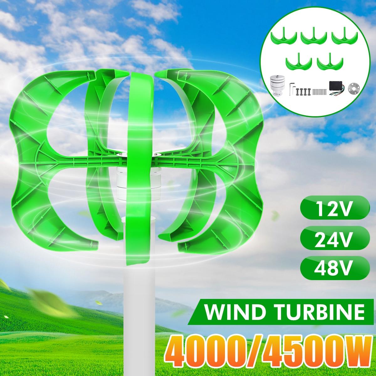 4500W/4000W Wind Generator 12/24/48V 5 Blades generator Lantern wind turbines Vertical Axis For Household Streetlight+Controller