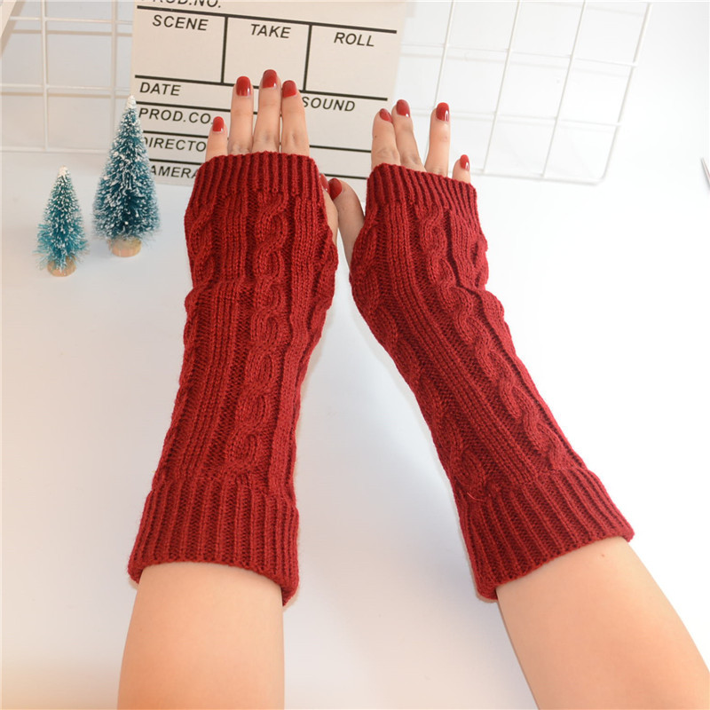 High Quality Winter Long Knitting Gloves Female Fingerless Arm Sleeve Gloves Without Fingers Twist Knit Wrist Mittens Guantes