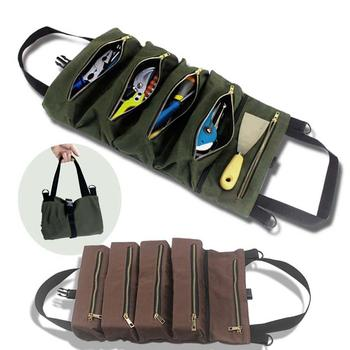 Portable Canvas Zipper Pockets Tool Roll Wrench Screwdriver Storage Bag Case portable chef knife bag roll bag carry case bag kitchen cooking tool portable storage 10 pockets coffee