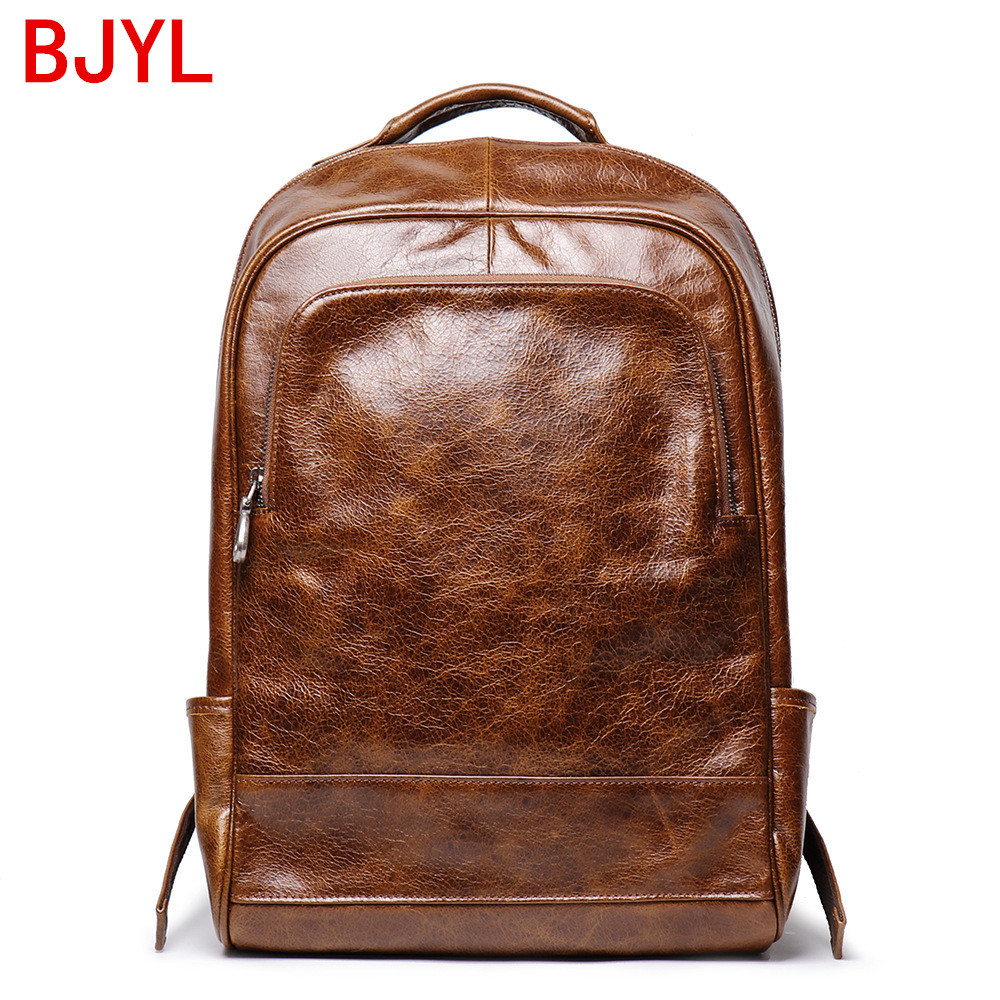 """16/"""" Large Men/'s and Women/'s Real Leather Backpack Rucksack Travel Bag Laptop New"""