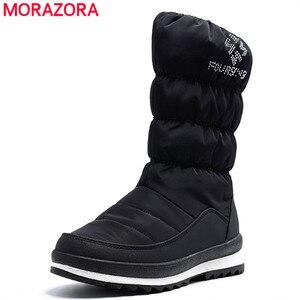 Image 2 - MORAZORA Plus rozmiar 36 41New 2020 śnieg buty damskie zip rhinstone kliny do połowy łydki dół buty zimowe moda ciepłe futrzane buty kobieta