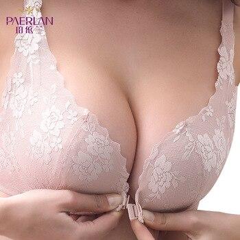 여성 브래지어 와이어 무료 여성 속옷 앞 버클 작은 가슴 림 브래지어없이 수집 아름다움 다시 섹시한 레이스 브래지어 도매