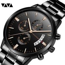 купить Men Watches Top Brand Luxury Analog Business Stainless Steel Casual Quartz Watch Black Wristwatch Man Sports Watch Male Clocks по цене 853.36 рублей