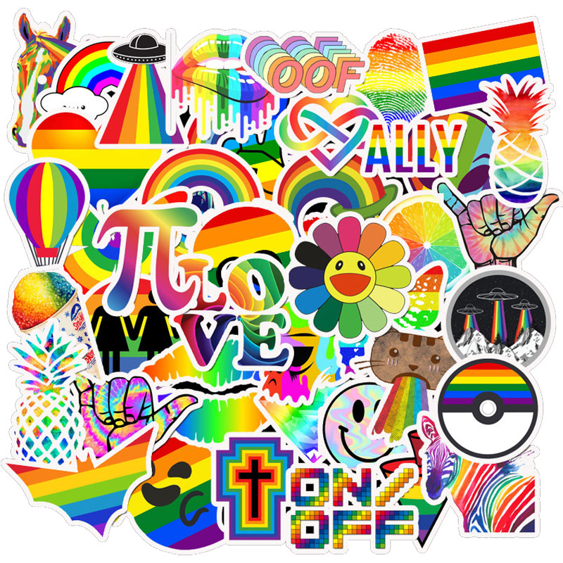 50PCS Rainbow Stickers Pack For On The Laptop Fridge Phone Skateboard Travel Suitcase Luggage Cool Vsco Sticker