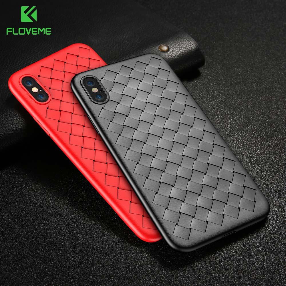 FLOVEME Läderfodral fodral för iPhone 6 6S 7 8 Plus X-fodral för iPhone XS Max XR X 11 Pro Max lyxvävd silikon bakomslag