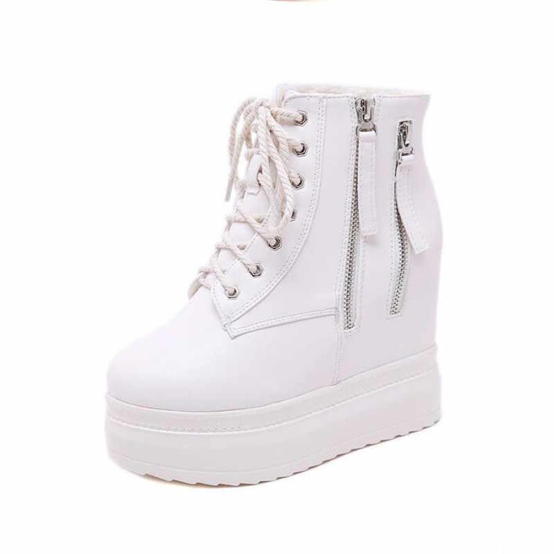 BBZAI yeni desen sıcak satış bayanlar ayakkabı 11CM takozlar bayan botları su geçirmez 5CM ayakkabı moda motosiklet yarım çizmeler
