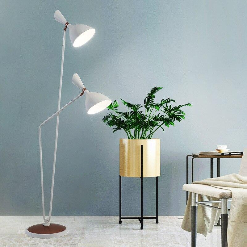 Double tête réglable minimaliste noir blanc canapé salle de lecture vintage lampe lampadaire pour salon chambre étude 110V 220V